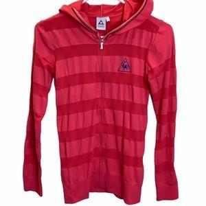 Le Coq Sportif France Pink Striped Golf Hoodie
